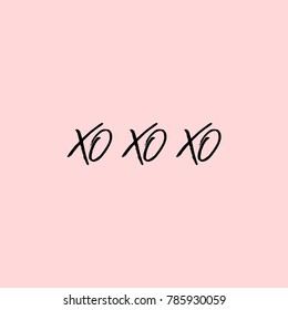 Xo Xo Xo phrases. Phrase for Valentine's day. Ink illustration. Modern brush calligraphy. Isolated on pink background.
