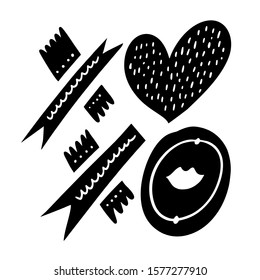 Xo Xo sign. Hand drawn vector lettering. Love phrase. Black ink. Isolated on white background illustration.