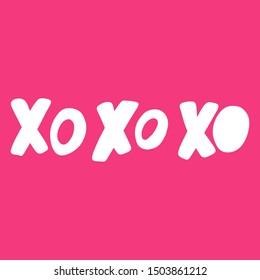 Xo xo xo. Vector hand drawn illustration with cartoon lettering. Good as a sticker, video blog cover, social media message, gift cart, t shirt print design.