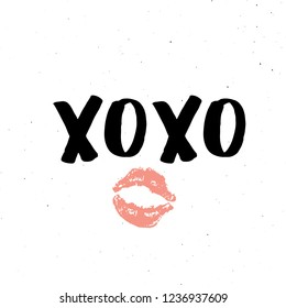 XOXO brush lettering sign, Grunge calligraphic hugs and kisses Phrase, Internet slang abbreviation XOXO symbols, vector illustration isolated on white background.