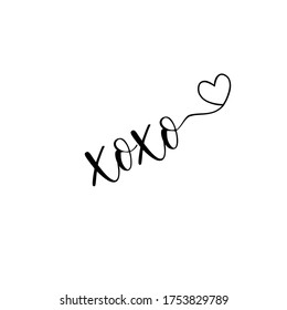 xoxo calligraphy - good for tattoo, greeting card, poster, gift design.
