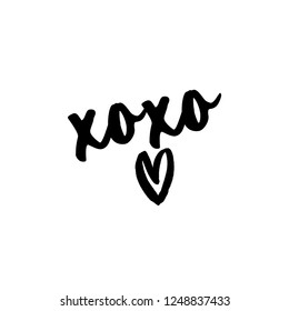XoXo - Greeting card text - Calligraphy phrase for Christmas or other gift. Modern brush lettering phrase. Hand drawn design elements, Xmas greetings cards, invitations. Holiday quotes.