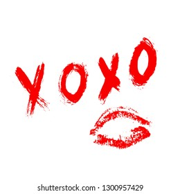 XOXO hand written phrase and red lipstick kiss isolated on white background. Hugs and kisses sign. Grunge brush lettering XO. Easy to edit template for Valentine's day greeting card, banner, poster.