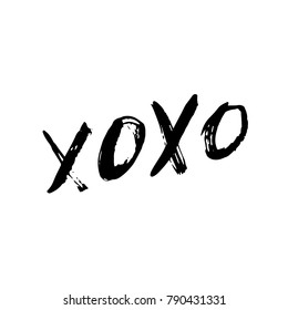 XOXO Hugs and Kisses Brush Hand Lettering Vector Black on White Background
