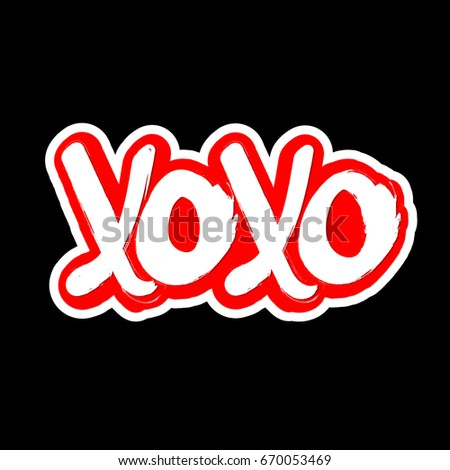 Xoxo Hugs Kisses Isolated Sticker Symbol Stock Vector Royalty Free