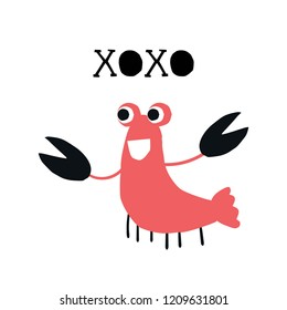 Xo-xo - kids poster with cute crab and lettering cut out of paper. Vector illustration.
