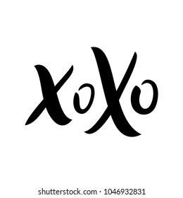 XOXO kiss hand drawn image. Xo xo lettering illustration. Kissing enging of the letter / card / quote. Cutre text vector image