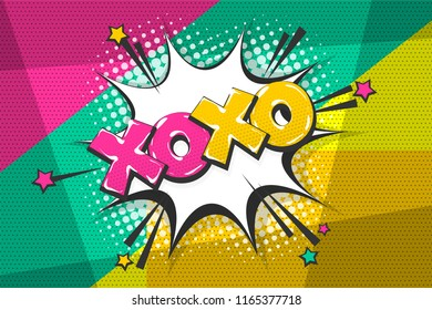 Xoxo kiss love wow comic text speech bubble. Colored pop art style sound effect. Halftone vector illustration banner. Vintage comics book poster. Colored funny cloud font.