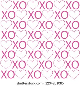 XOXO lettering pattern with heart. Abbreviation XOXO symbols, vector illustration isolated on white background. Romantic pattern.