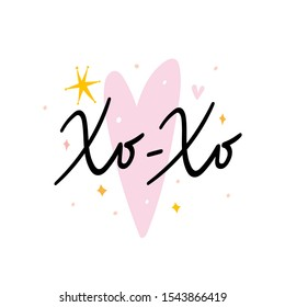 Xo-Xo lettering phrase with pink heart shaped background and hand drawn doodles and stars. Good as festive sticker, card, or banner. Handwritten phrase.