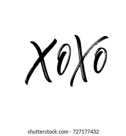 Xoxo phrase. Greeting card. Romantic lettering. Ink illustration. Modern brush calligraphy. Isolated on white background.