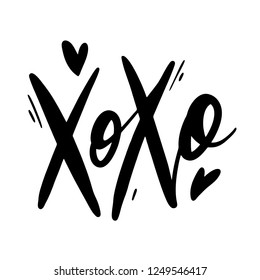 Xoxo phrase vector lettering. Modern brush calligraphy. Romantic illustration isolated on white background