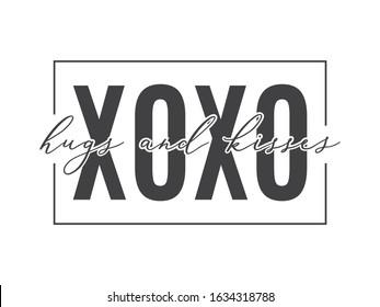 XOXO Text, XOXO Background, Hugs and Kisses Text, Valentine's Day Background, Valentine's Day Card, Vector Text Illustration Background
