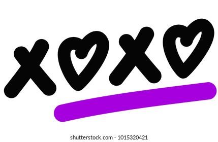 XOXO Text with Hearts