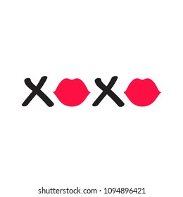 XOXO Text with Lips
