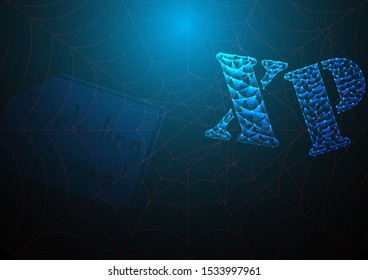 xp or excluding principal is symbol on stock market build by line and gradient on blue black background.