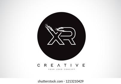 XR Modern Leter Logo Design with Black and White Monogram. Creative Letter Logo Brush Monogram Vector Design.