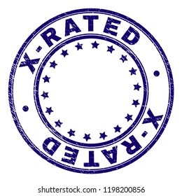 X-RATED stamp seal imprint with distress texture. Designed with circles and stars. Blue vector rubber print of X-RATED label with corroded texture.