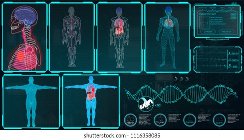 X-Ray Body Collections in Futuristic HUD SCI Style. Modern Scan of Internal Ograns and Human Body. Set x-ray Images ( Structure and Arrangement of Organs and DNA Formula) Hud Sci vector collection