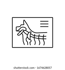 X-ray, dog icon. Simple line, outline vector elements of veterinary icons for ui and ux, website or mobile application