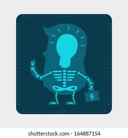 X-ray film of young businessman body, Business concept