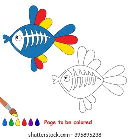 X-ray fish to be colored. Coloring book for children. Visual game.