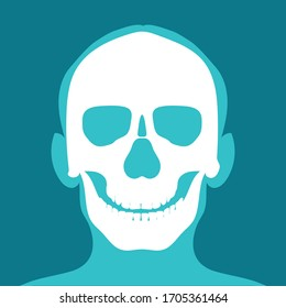 Xray of head and neck isolated on blue backdround. the joints and bones, human joints, skeletal spinal bone structure of Human Spine, medical health care flat vector illustration.