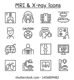 X-ray, MRI & Medical diagnostic icon set in thin line style