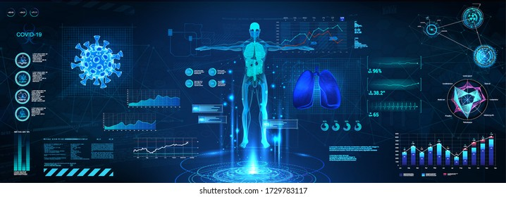X-ray and MRT human body, examination of the body and lungs on Covid-19 in HUD style. 3D body, bacteria and lungs with FUI, GUI and Sci interface. Healthcare technology. Blue vector illustration