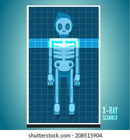 x-ray scanning on human body. skeleton - vector illustration