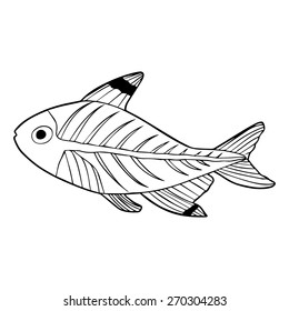 X-ray tetra fish outline illustration