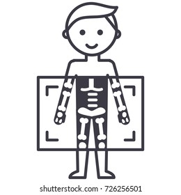 x-ray,medical diagnostics man  vector line icon, sign, illustration on background, editable strokes