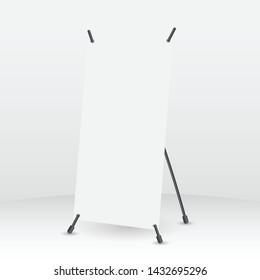 X-Stand vertical mockup. Vector illustration. Mockup for design.
