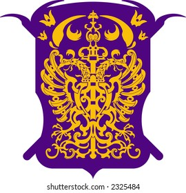 XVII Century Two headed eagle with wings in an isometric pattern within a shell - VECTOR