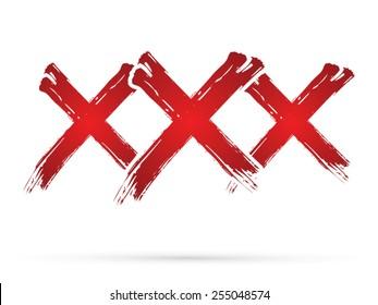 XXX, designed using grunge brush on white background, sign, logo, symbol, icon, graphic, vector.