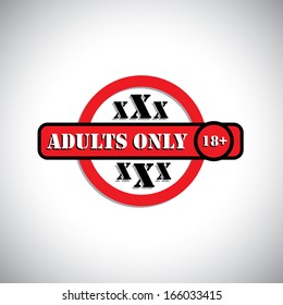 xxx material with label as adult's only, 18+ - concept vector. This graphic can represent pornographic content, sexually explicit material, nude or naked people, etc