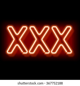 XXX neon sign. Lamp symbol 18. Burning erotic sign. Vintage electric symbol. Burning a pointer to a black wall in a club, bar or cafe. Design element for your ad, signs, posters, banners. Vector