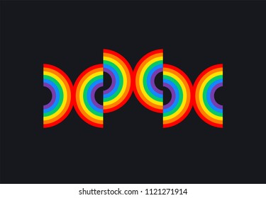 XXX rainbow on black background - XXX banner adult erotic concept illustration