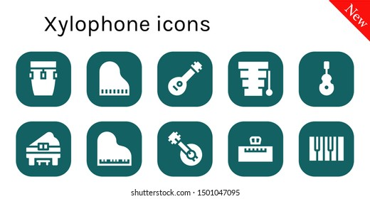 xylophone icon set. 10 filled xylophone icons.  Simple modern icons about  - Conga, Piano, Mandolin, Xylophone, Instrument, Banjo