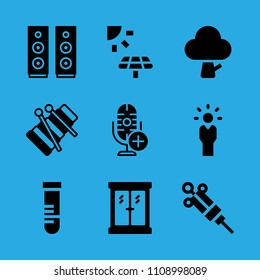 xylophone, microphone, window, test tube, tree, manager, solar panel, syringe and speaker vector icon. Simple icons set