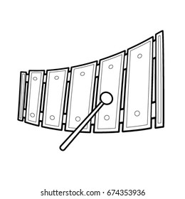 Xylophone music toy vector cartoon. Black and White Outline.