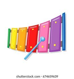 Xylophone music toy vector cartoon.