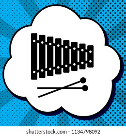 Xylophone sign. Vector. Black icon in bubble on blue pop-art background with rays.