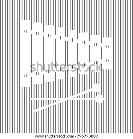 Xylophone Sign Vector White Icon On Stock Vector (Royalty