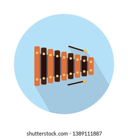 Xylophone and sticks vector icon. filled flat sign for mobile concept and web design. Xylophone musical instrument glyph icon. Percussion instrument symbol, logo illustration. Pixel perfect