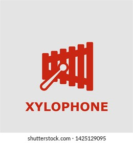 Xylophone symbol. Outline xylophone icon. Xylophone vector illustration for graphic art.