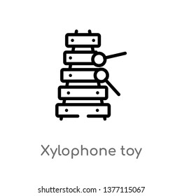 xylophone toy vector line icon. Simple element illustration. xylophone toy outline icon from toys concept. Can be used for web and mobile