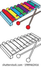 Xylophone  vector illustration isolated on white background