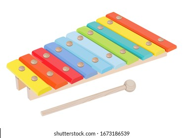 Xylophone with wand on a white background