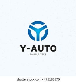 Y Auto car wheel logo design template. Vector letter Y blue circle logotype icon